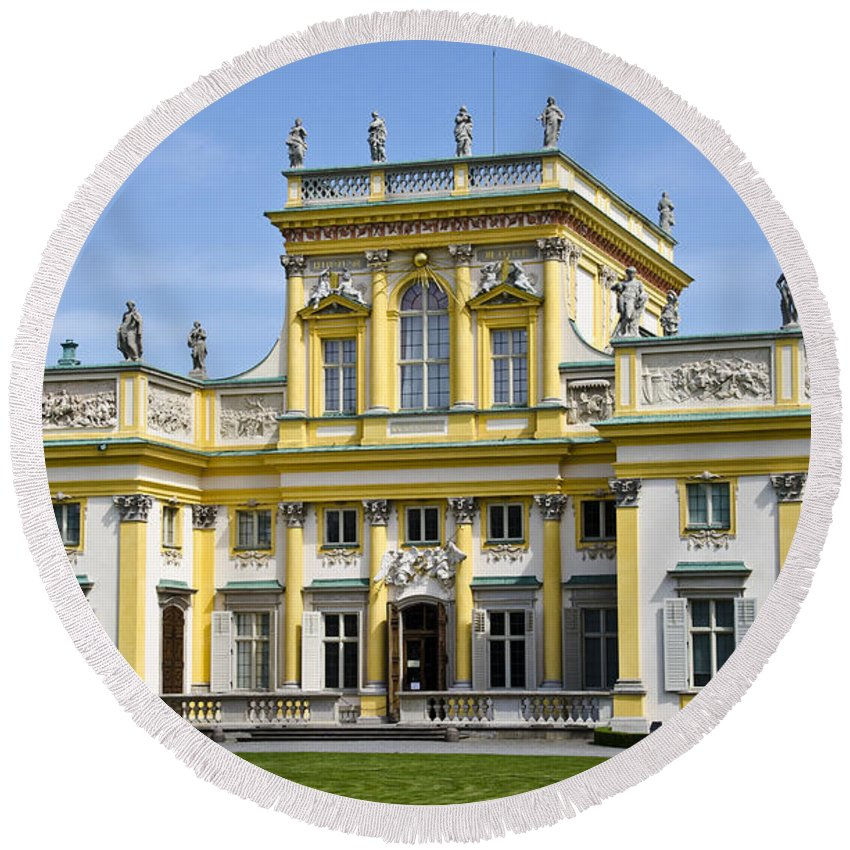 Wilanow Palace Round Beach Towel featuring the photograph Wilanow Palace And Museum - Poland by Jon Berghoff