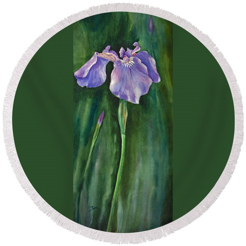 Watercolor Round Beach Towel featuring the painting Wild Iris I by Dee Carpenter