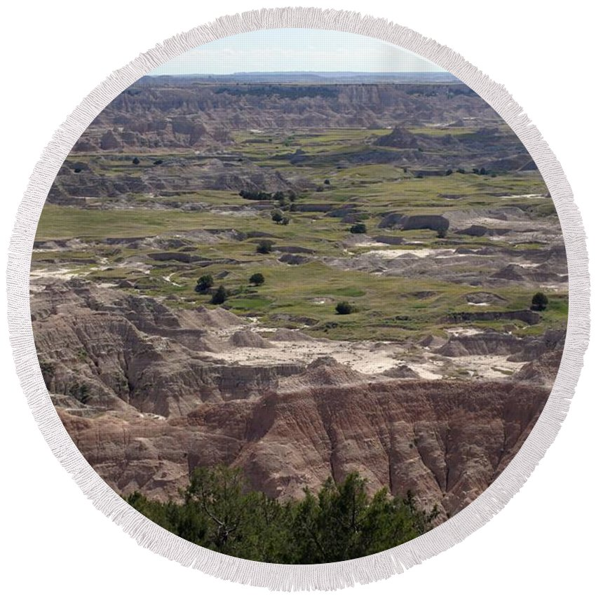 Badlands Round Beach Towel featuring the photograph Wild Mountain Goat On Top Of The Badlands by Living Color Photography Lorraine Lynch