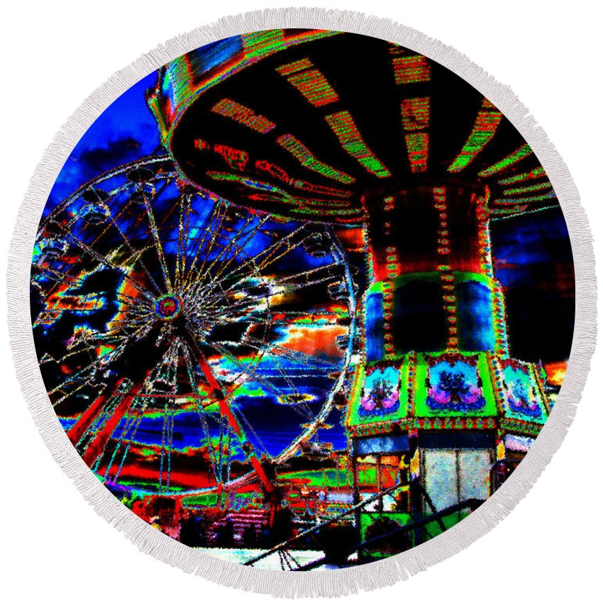 Art Round Beach Towel featuring the painting Wild Rides by David Lee Thompson