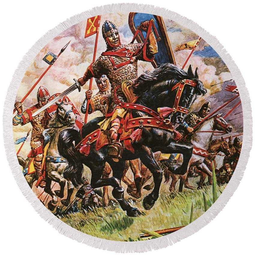 William The Conqueror; King William I; 1066; Normans; Armour; Knights; Invasion; Duke William; England; Battle Of Hastings; Hastings Round Beach Towel featuring the painting William The Conqueror At The Battle Of Hastings by Peter Jackson