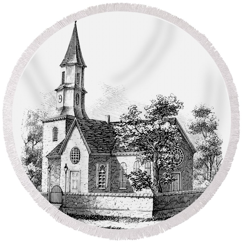 18th Century Round Beach Towel featuring the photograph Williamsburg: Church by Granger