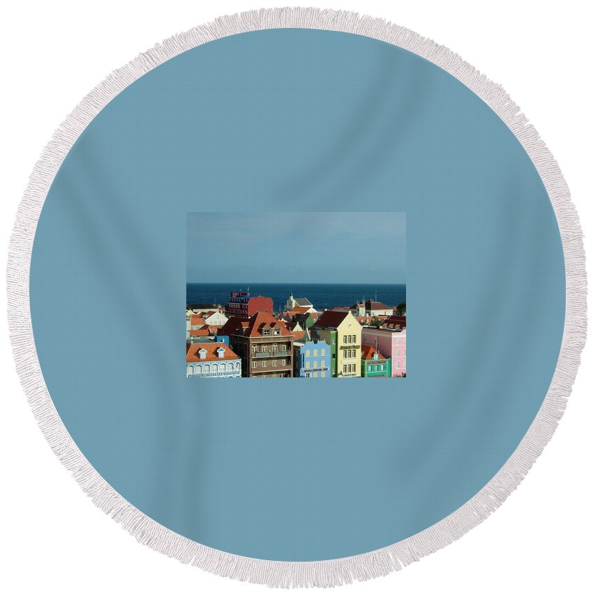 Caribbean Round Beach Towel featuring the photograph Williemstad Curacoa by Gary Wonning