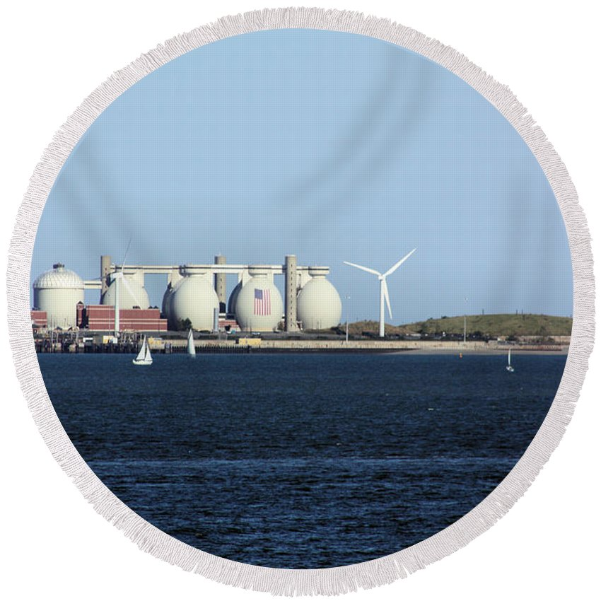 Sailboat Round Beach Towel featuring the photograph Wind Power by Kristin Elmquist
