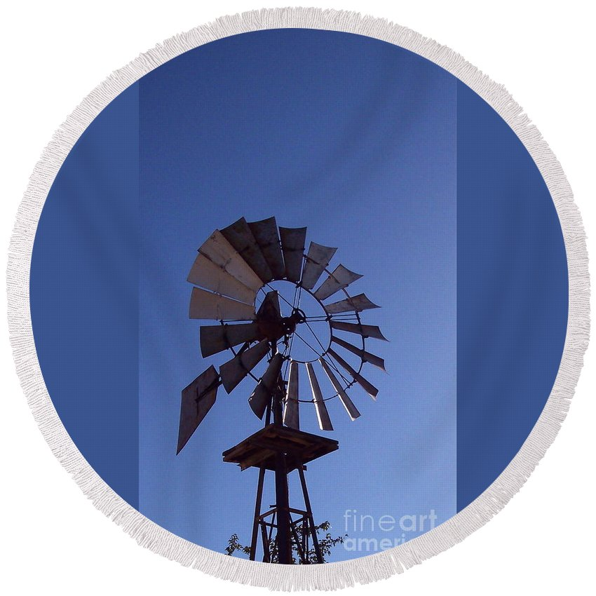 Windmill Round Beach Towel featuring the photograph Windmill In Blue by Nancy Patterson