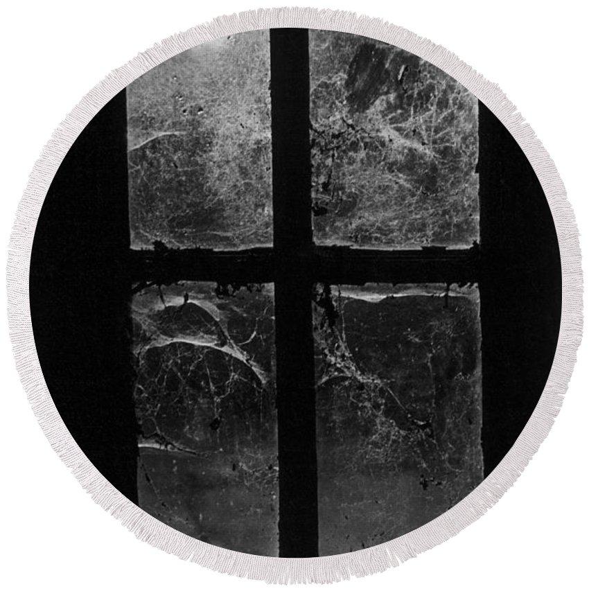 Halloween Round Beach Towel featuring the photograph Window At Castle Frankenstein by Simon Marsden