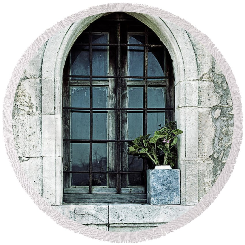 Windows Round Beach Towel featuring the photograph Window Of A Chapel by Joana Kruse