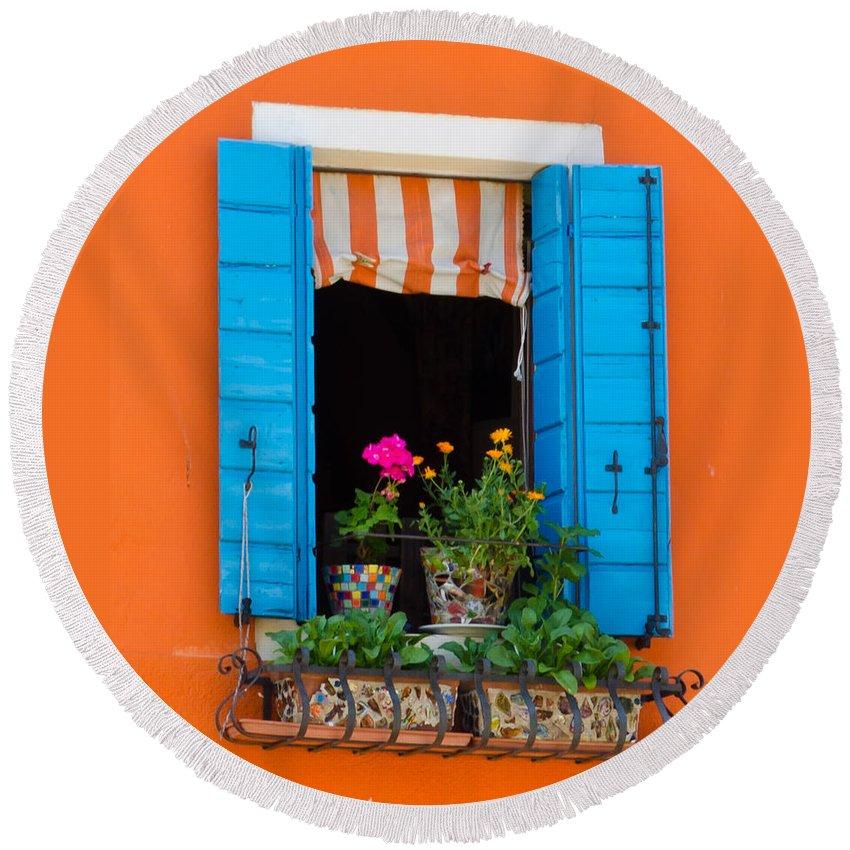 Orange Round Beach Towel featuring the photograph Window Plants by Jon Berghoff