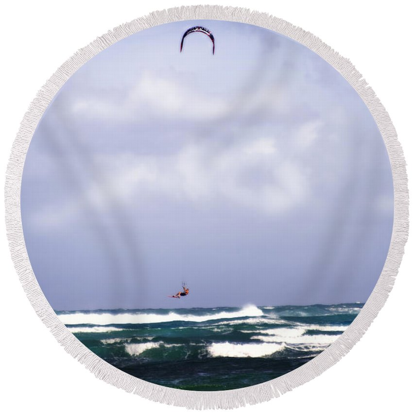 Ocean Round Beach Towel featuring the photograph Windsurfer by Jessica Velasco