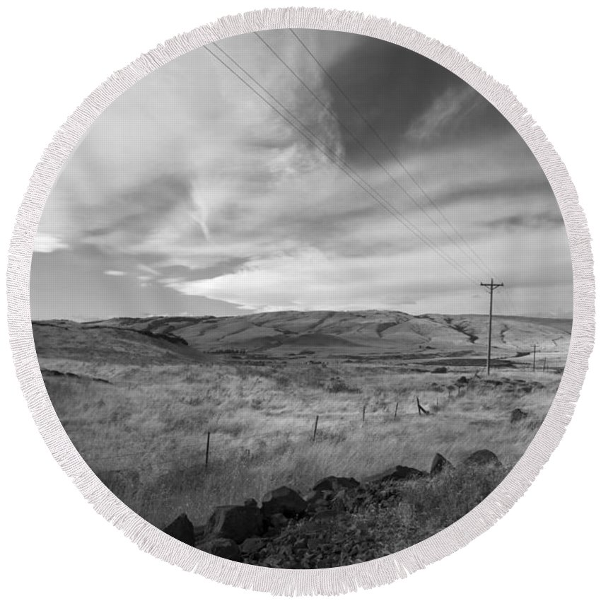 Landscape Round Beach Towel featuring the photograph Windswept Hills Bw by Grace Art Photography