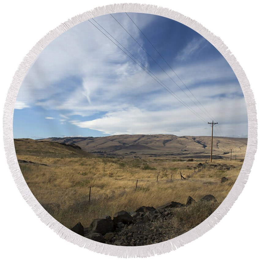 Landscape Round Beach Towel featuring the photograph Windswept Hills by Grace Art Photography