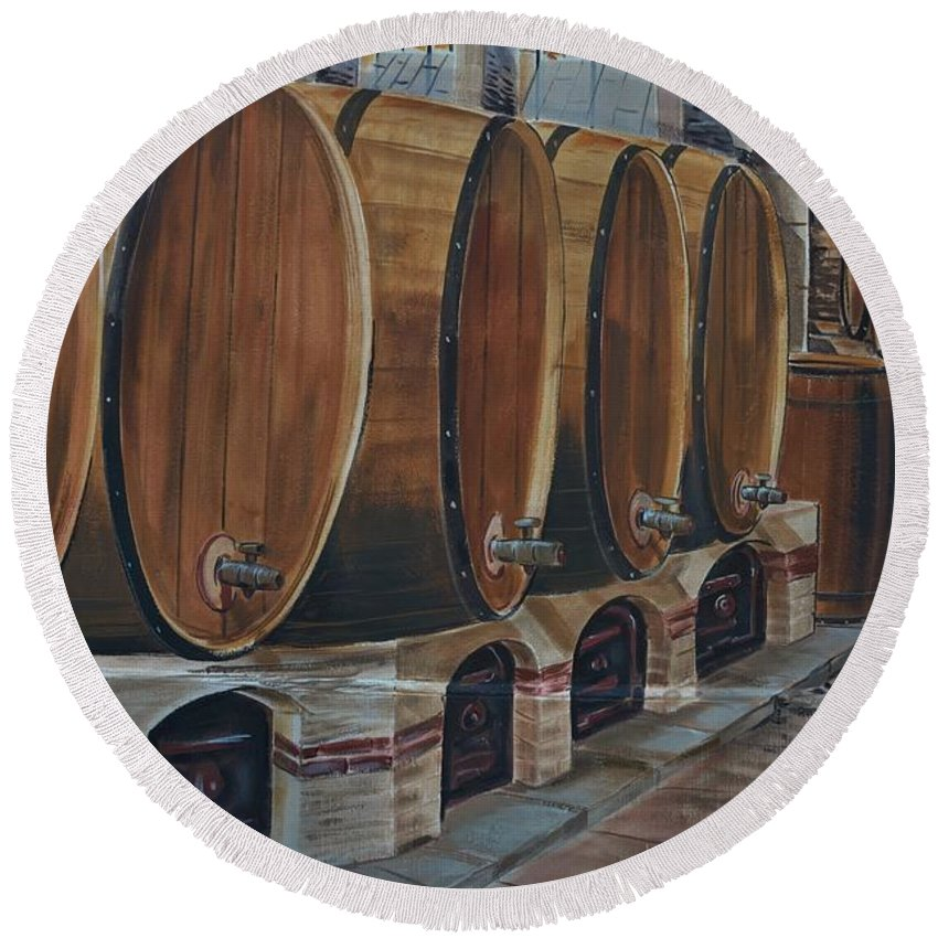 Alcohol Round Beach Towel featuring the photograph Wine Barrels by Dany Lison