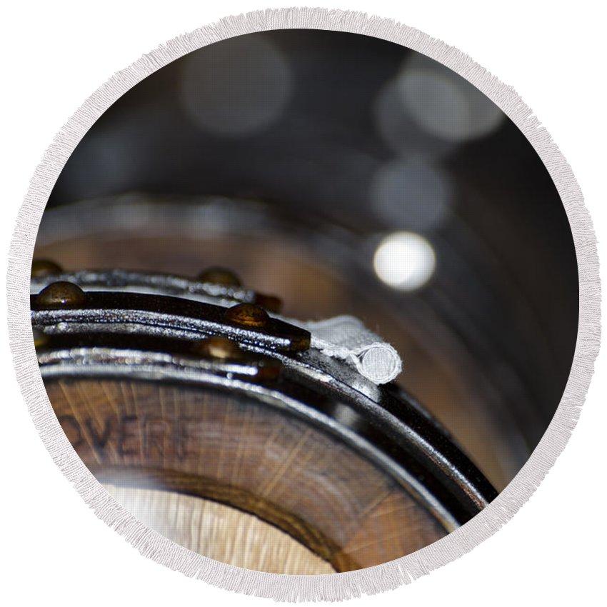 Wine Barrel Round Beach Towel featuring the photograph Wine Barrels In Oak by Mats Silvan