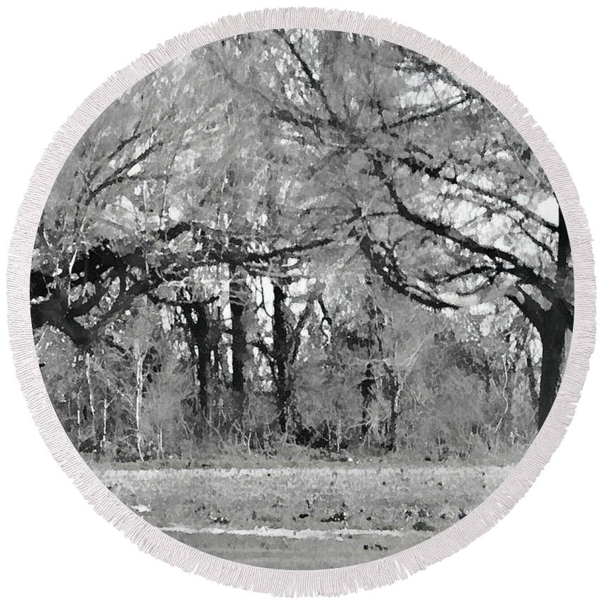 Nature Round Beach Towel featuring the photograph Winter At The Edge Of The Woods by Debbie Portwood
