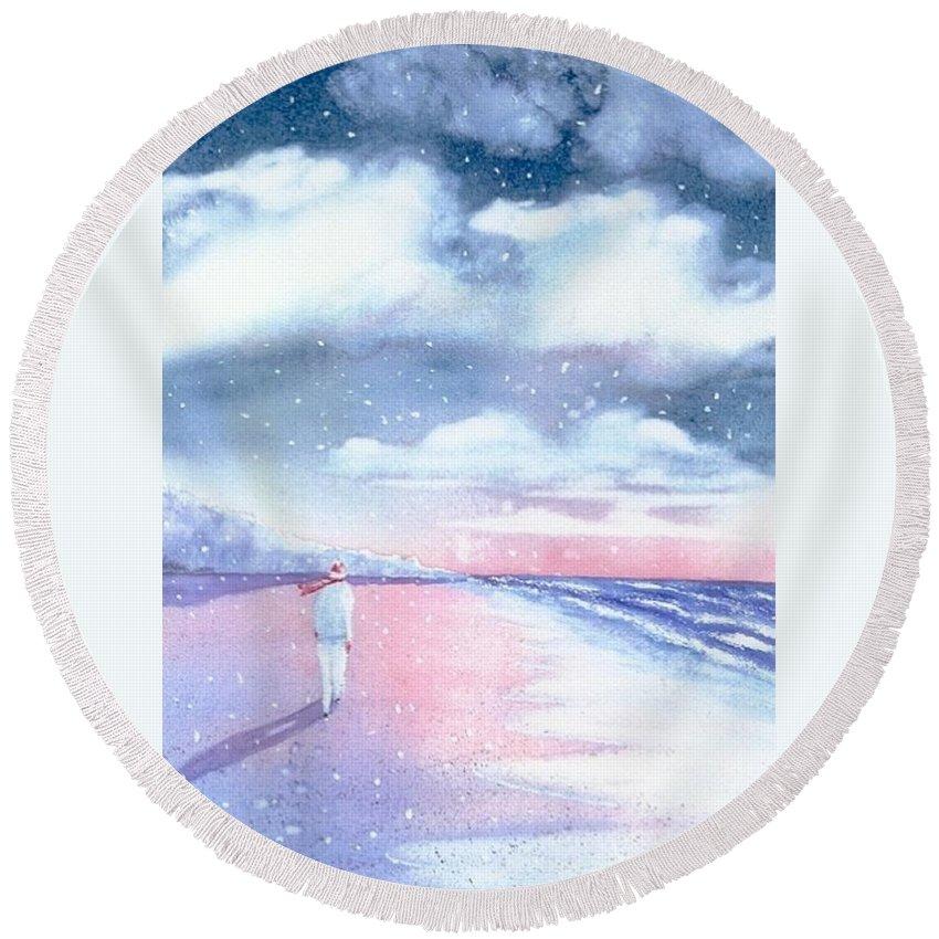Winter Round Beach Towel featuring the painting Winter Beach Walk by Joseph Gallant
