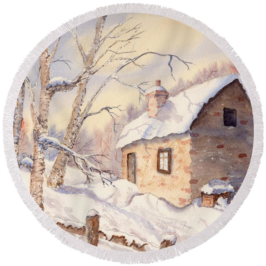 Birches Round Beach Towel featuring the painting Winter Escape by Mohamed Hirji