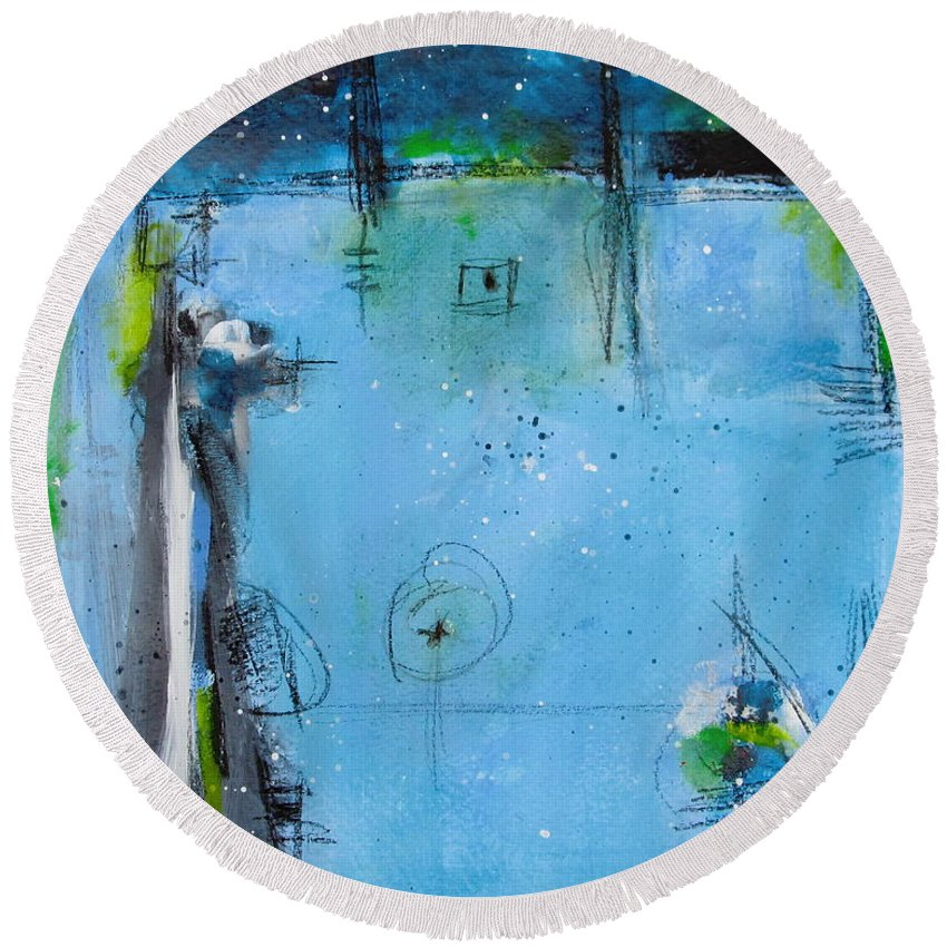 Abstract Painting Round Beach Towel featuring the painting Winter by Nicole Nadeau