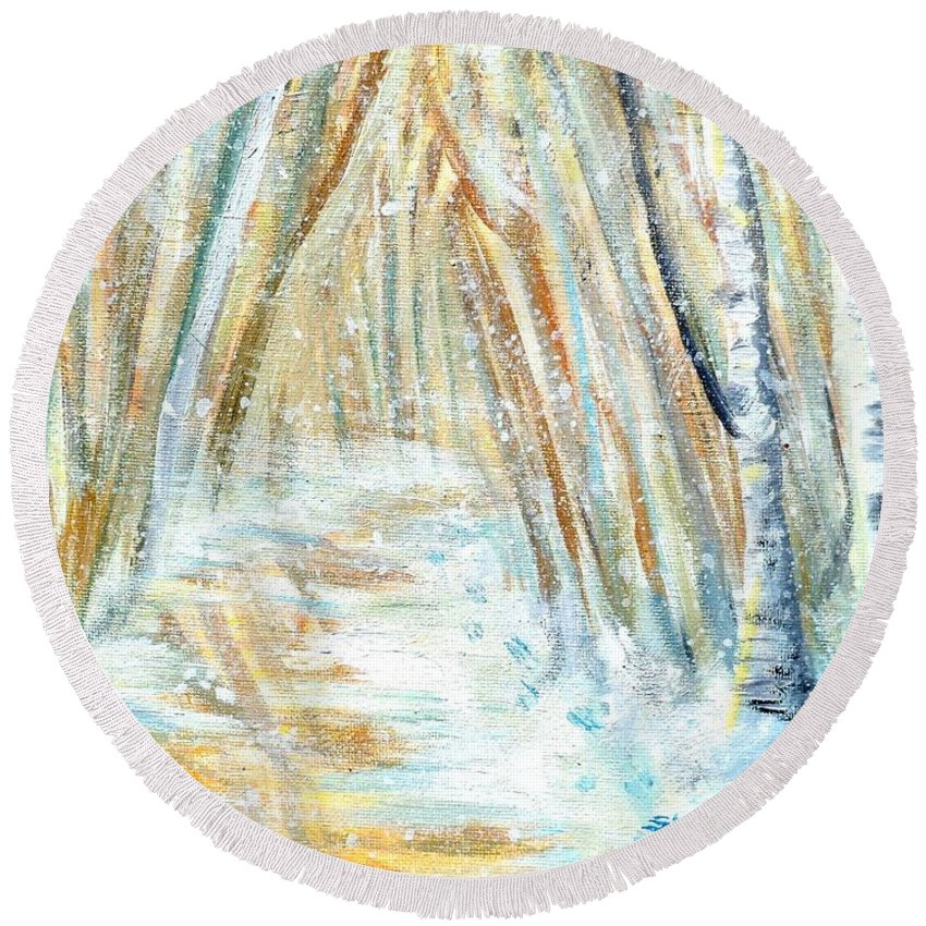Winter Round Beach Towel featuring the painting Winter by Shana Rowe Jackson