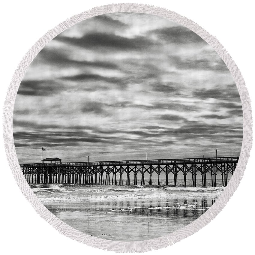 Landscape Round Beach Towel featuring the photograph Winter Storm by Fran Gallogly