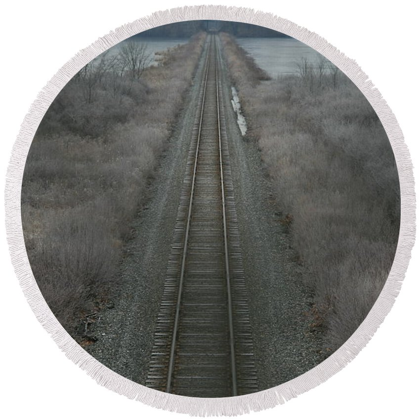 Railroad Round Beach Towel featuring the photograph Winter Tracks by Neal Eslinger
