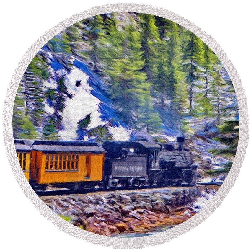 Durango Round Beach Towel featuring the painting Winter Train by Jeffrey Kolker