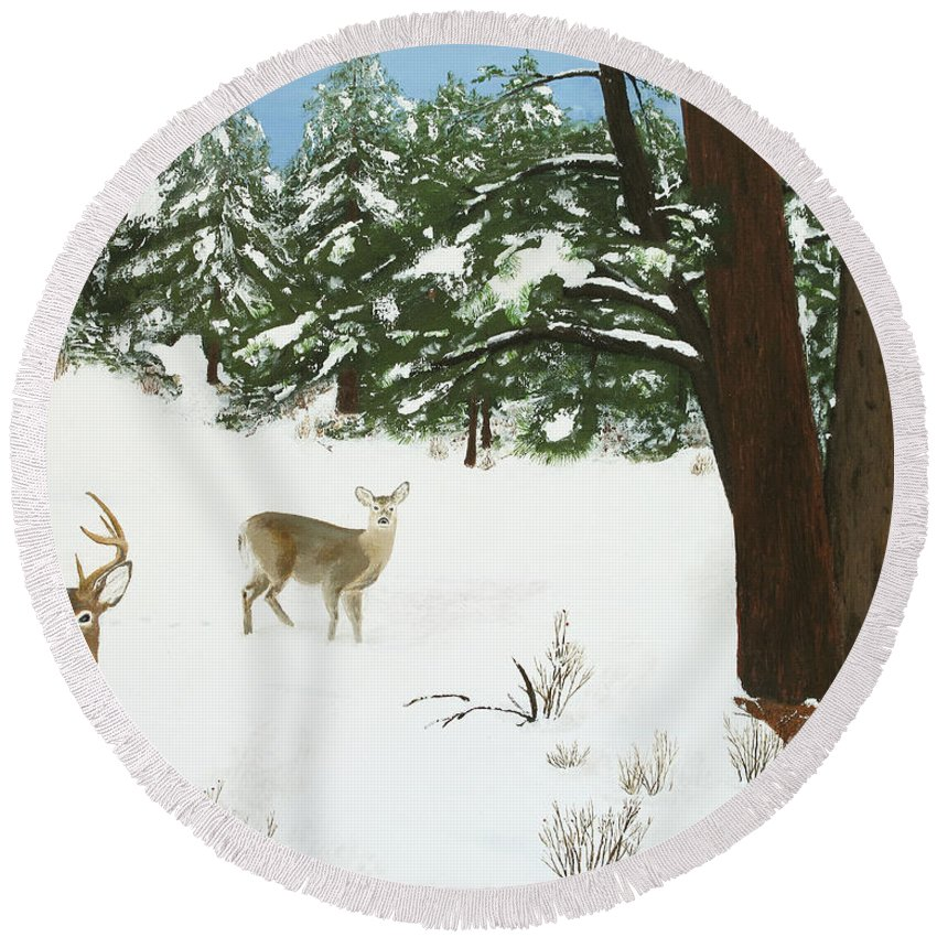 Winterscape Round Beach Towel featuring the painting Wintering Whitetails by L J Oakes