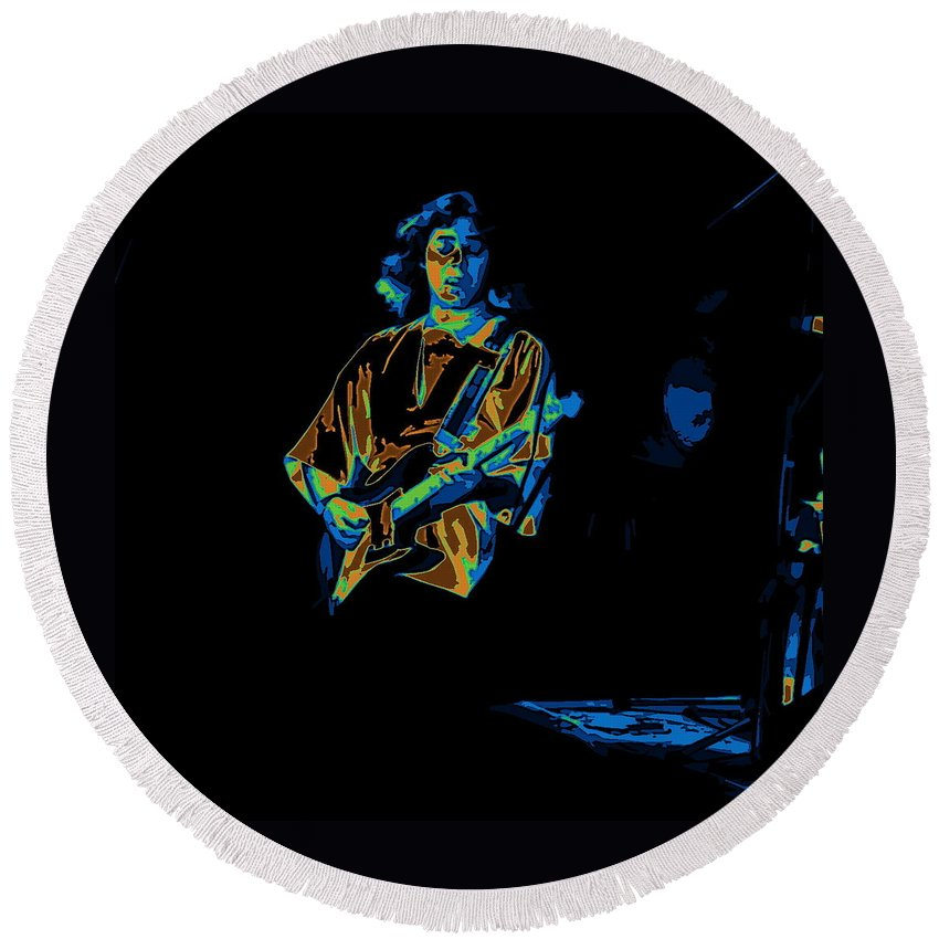 Tommy Bolin Round Beach Towel featuring the photograph Winterland Cosmic Grind by Ben Upham