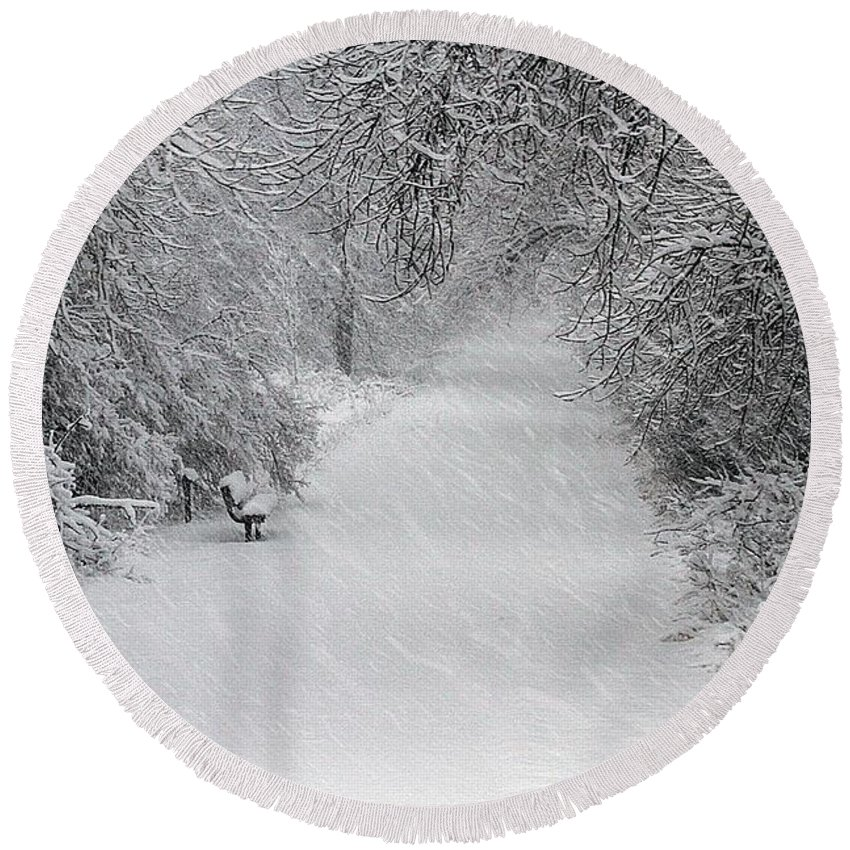 Snowing Round Beach Towel featuring the photograph Winter's Trail by Elizabeth Winter