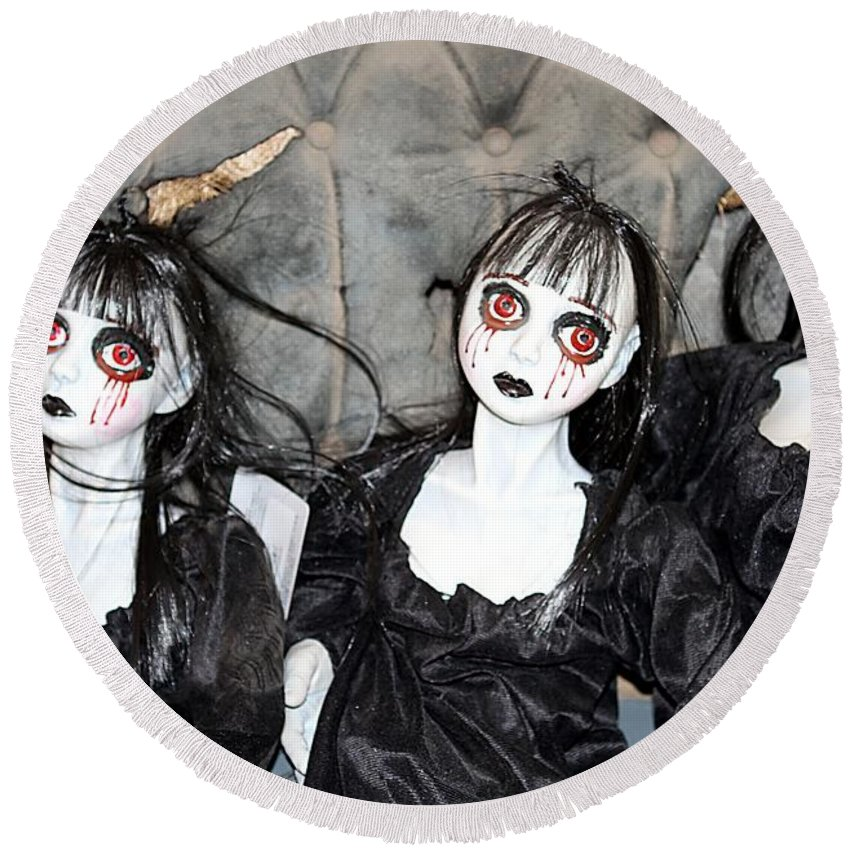 Halloween Round Beach Towel featuring the photograph Witches Of Hallow's Eve by Elizabeth Winter