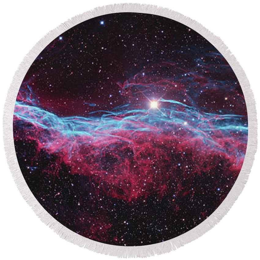 Witches Broom Nebula Round Beach Towel featuring the photograph Witchs Broom Nebula by Ken Crawford