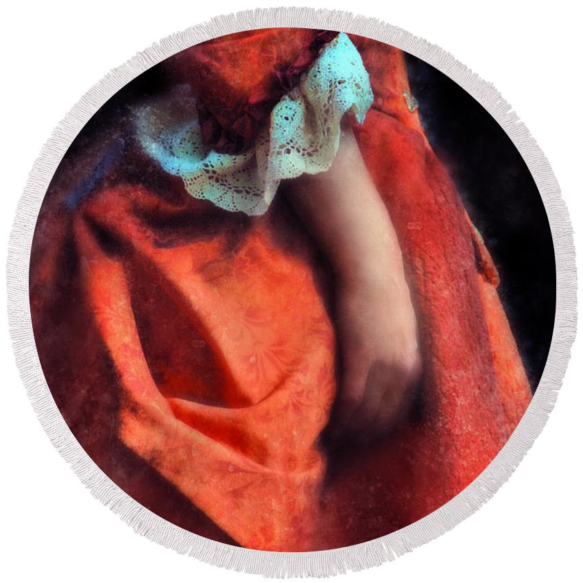 Woman Round Beach Towel featuring the photograph Woman In Red 18th Century Gown by Jill Battaglia