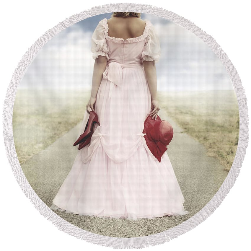 Female Round Beach Towel featuring the photograph Woman On A Street by Joana Kruse