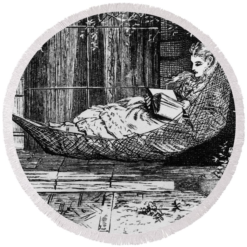 1873 Round Beach Towel featuring the photograph Woman Reading, C1873 by Granger