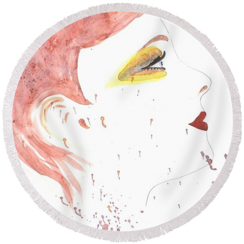 Woman Face Round Beach Towel featuring the painting Woman Smile Watercolor Painting by Georgeta Blanaru