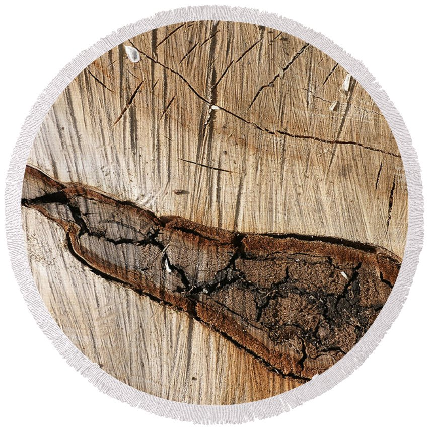 Wood Round Beach Towel featuring the photograph Wood Design by Erik Tanghe