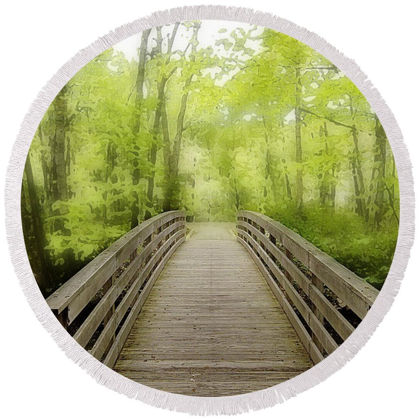 Photo Round Beach Towel featuring the photograph Wooden Bridge by Mike Nellums