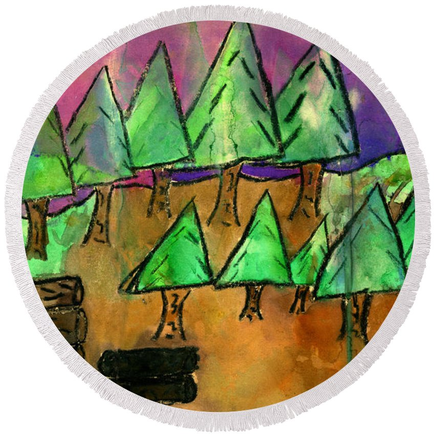 Trees Round Beach Towel featuring the mixed media Woods Cut Logs And A Sunset by Tim Nyberg
