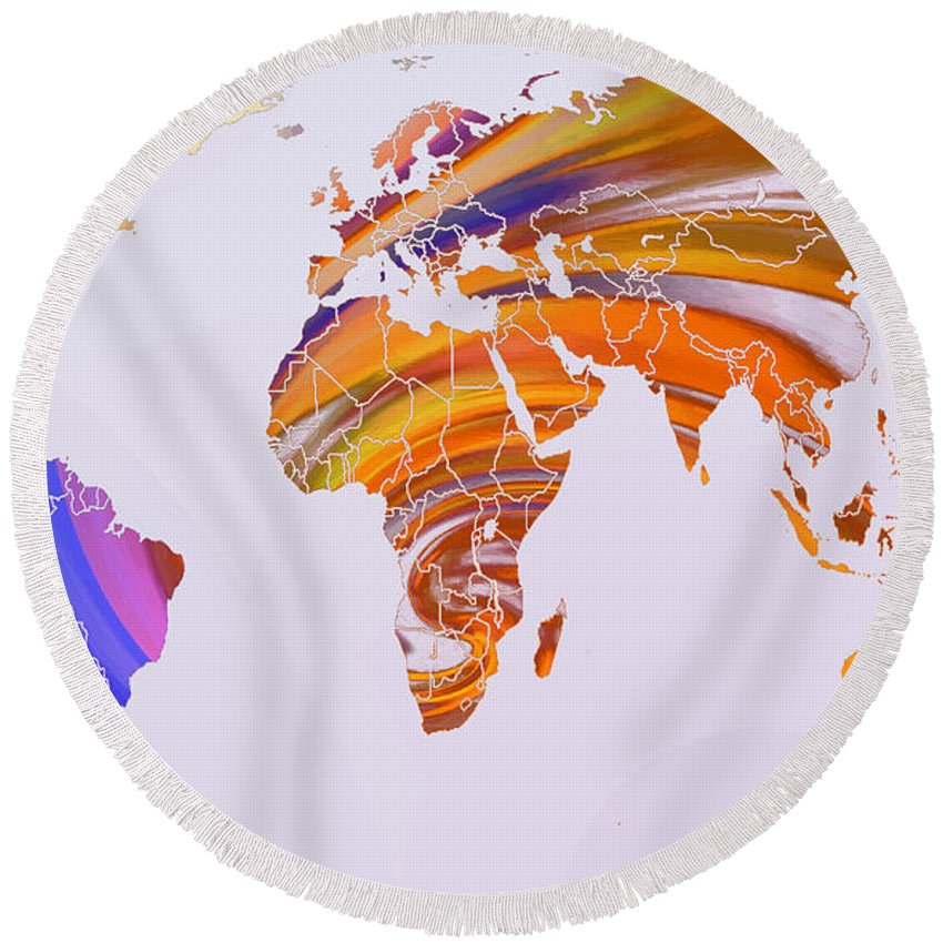 Map World Digital Art Atlas Country America Africa Asia Europe Australia Color Colorful Expressionism Impressionism Round Beach Towel featuring the digital art World Map Abstract Painted by Steve K