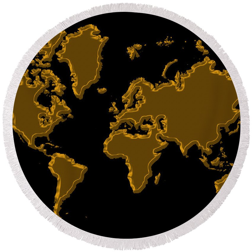 World Map Round Beach Towel featuring the photograph World Map Gold by Andrew Fare