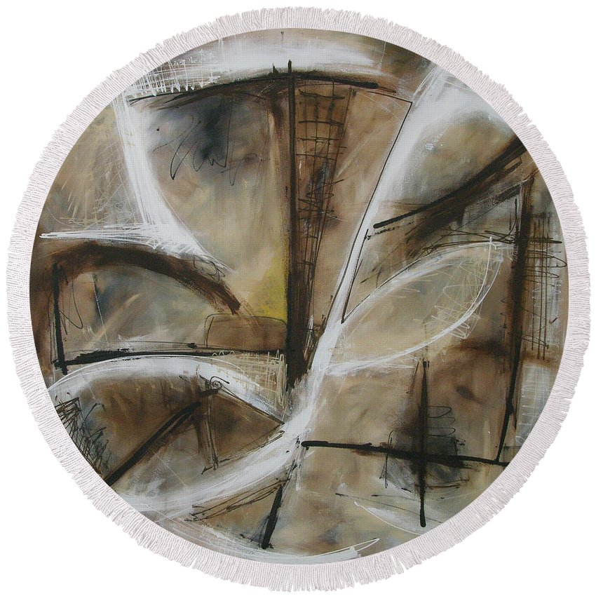 Modern Round Beach Towel featuring the painting Woven Portal by Lynne Taetzsch