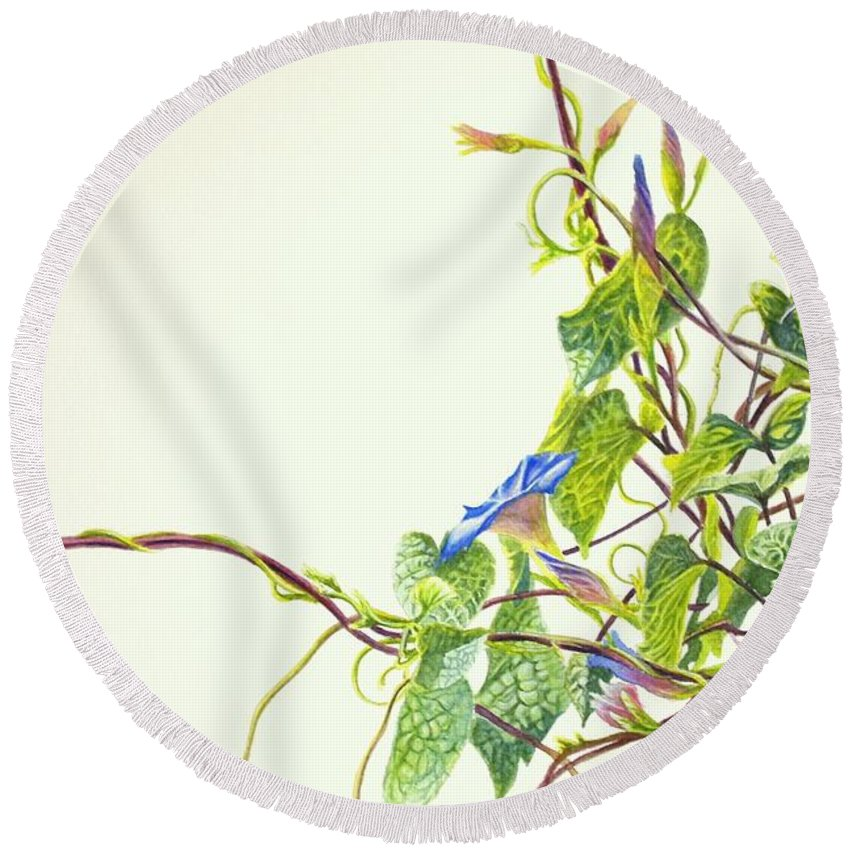 Wren Round Beach Towel featuring the painting Wren And Damselfly by Greg and Linda Halom