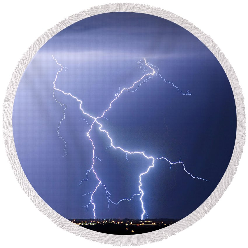 City Round Beach Towel featuring the photograph X Lightning Bolt In The Sky by James BO Insogna