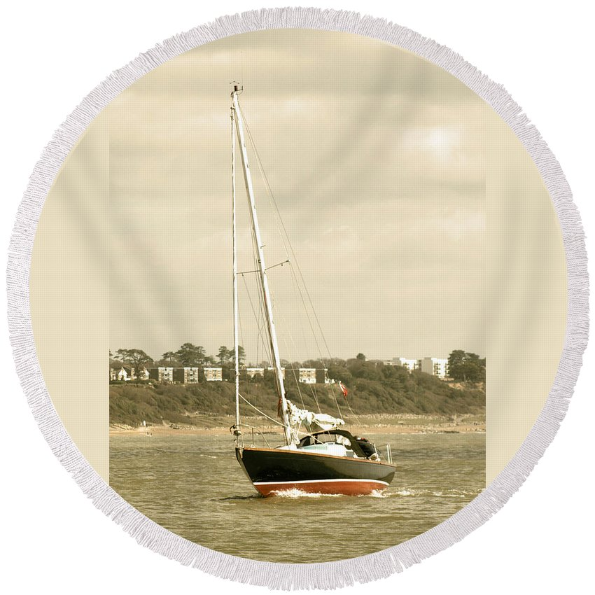 Yacht Round Beach Towel featuring the photograph Yacht Entering Christchurch Harbour by Chris Day