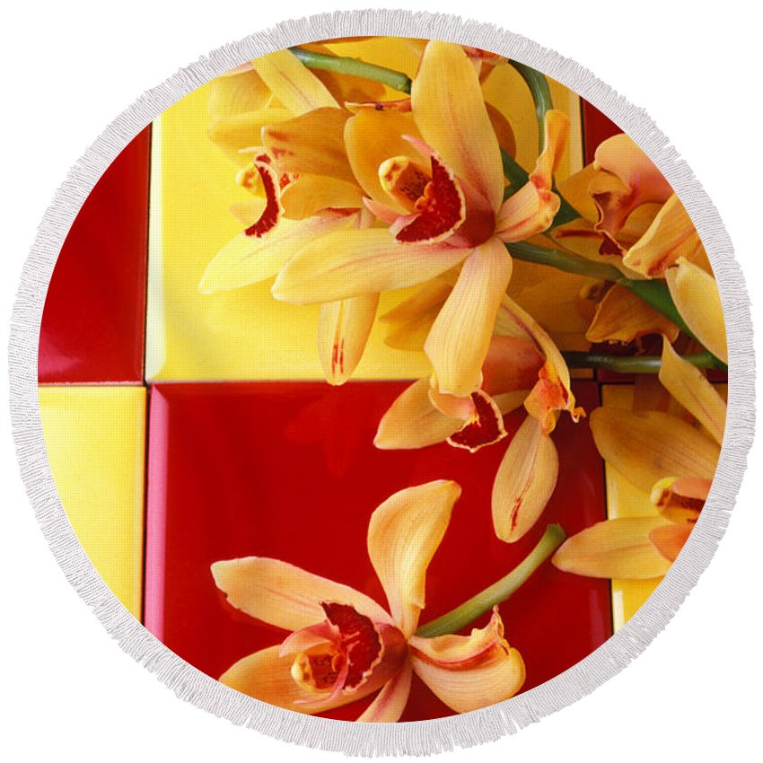 Yellow Red Orchids Round Beach Towel featuring the photograph Yellow And Red Orchids by Garry Gay