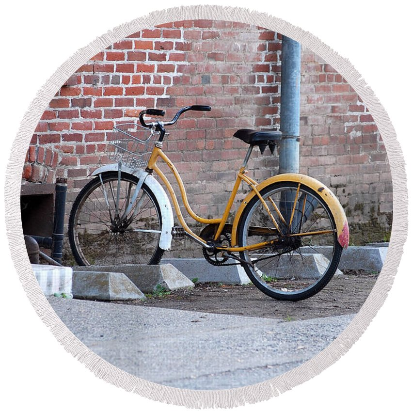 Monk Bicycle Yellow Cruiser Monastery Vina Ca Round Beach Towel featuring the photograph Yellow Cruiser by Holly Blunkall