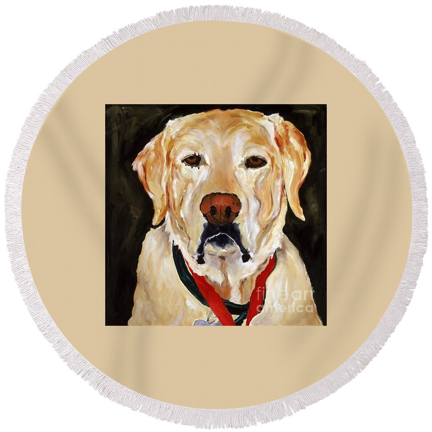 Yellow Labrador Round Beach Towel featuring the painting Yellow Labrador At Christmas by Betsy Doody