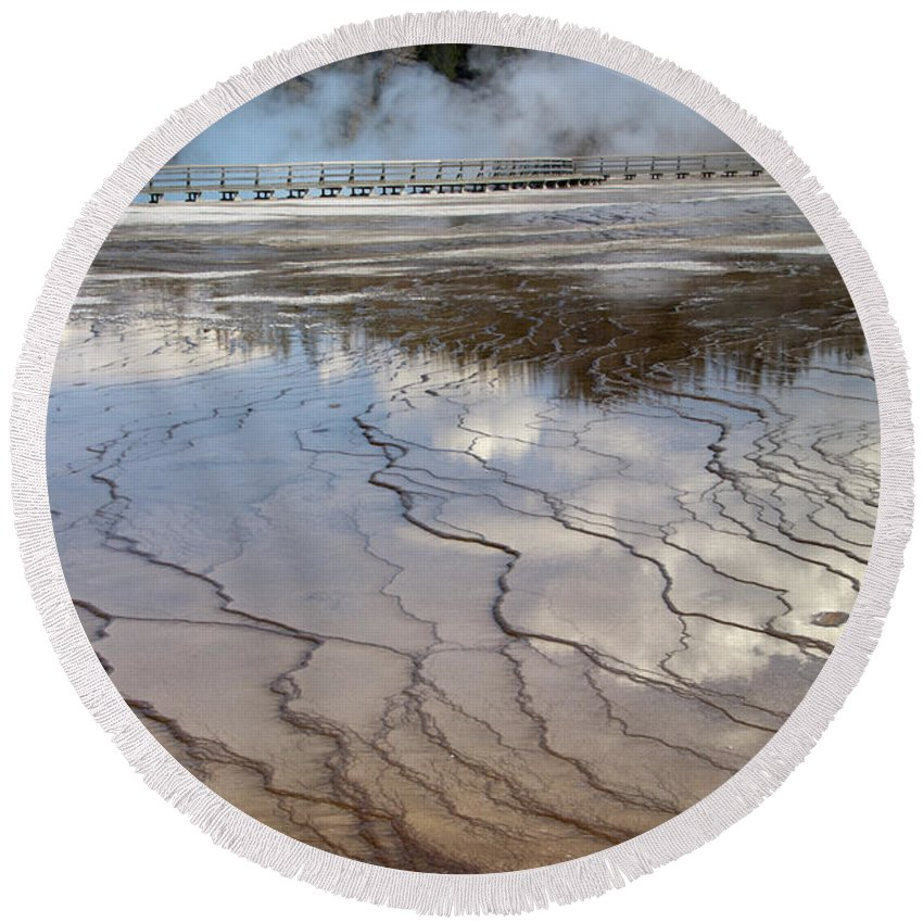 Bronstein Round Beach Towel featuring the photograph Yellowstone Reflection by Sandra Bronstein