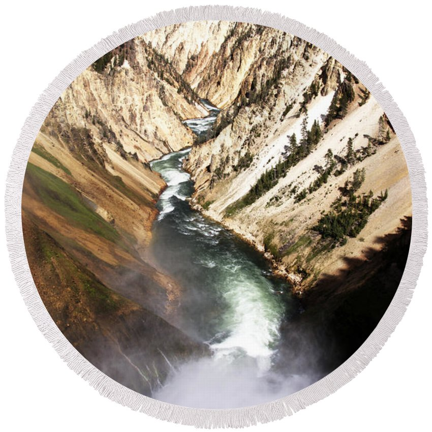 Yellowstone River Lower Falls Canyon Village Yellowstone National Park Wyoming Usa Round Beach Towel featuring the photograph Yellowstone River Below Lower Falls by Paul Cannon