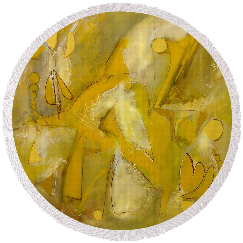 Abstract Round Beach Towel featuring the painting Yo Yo Gold by Lynne Taetzsch