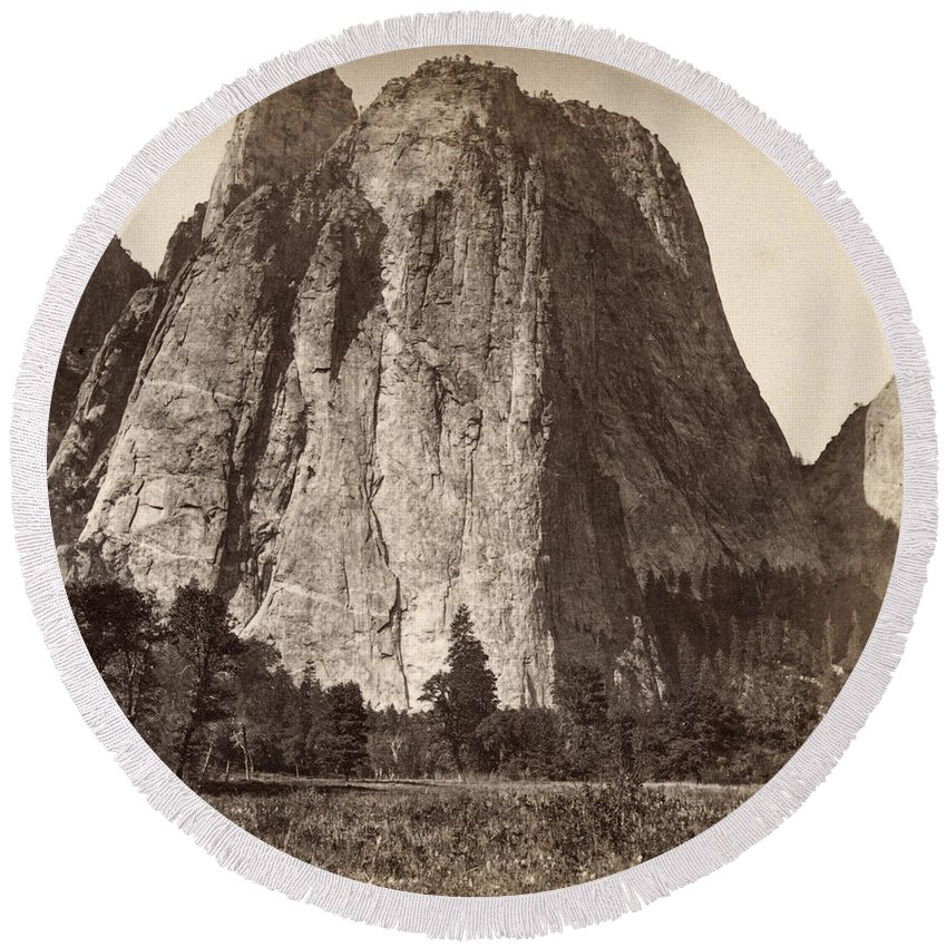 1871 Round Beach Towel featuring the photograph Yosemite: Cathedral Rock by Granger